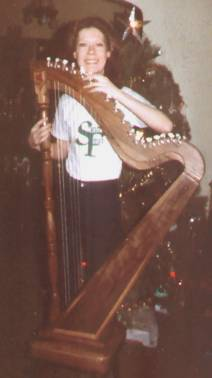 Shirley Starke with Bardic harp